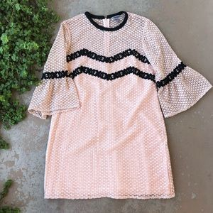 Chelsea28 Pink Bell Sleeve Lace Shift Dress